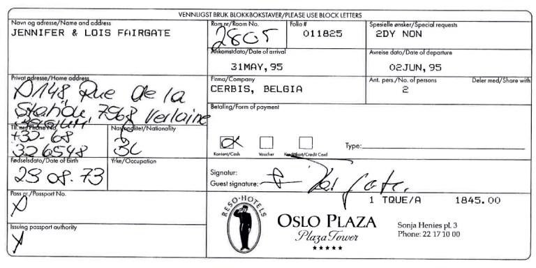 Check-in Formular der Plaza-Frau, Oslo